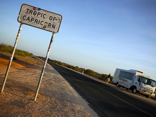Our bus at the Tropic of Capricorn