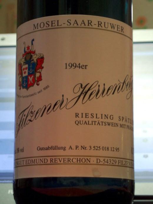 1994 Filzener Herrenberg Riesling Spätlese Weingut Reverchon