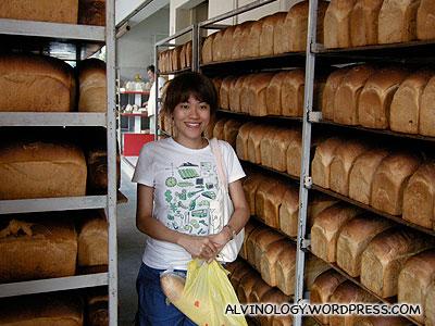 Rachel hiding between the breads