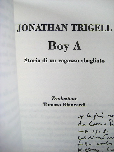 Jonathan Trigell, Boy A, ISBN 2009, grafica: Alice Beniero, frontespizio (part.)