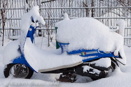 La motocicleta nevada