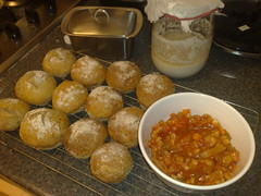 Today's bread is wholemeal sourdough rolls and the soup is hearty italian vegetable.