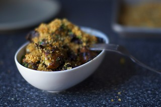 balsamic braised brussels, bread crumbs