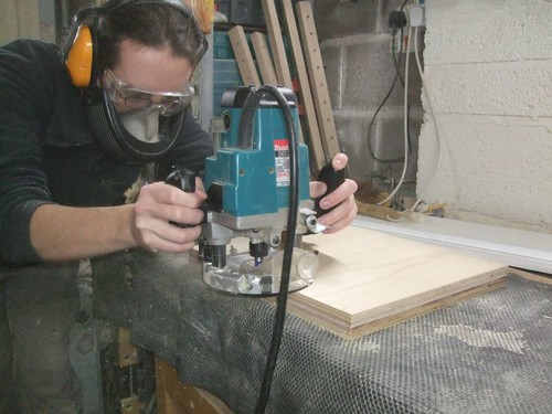 You can use a bearing-guided cutter to create two identical sheets.
