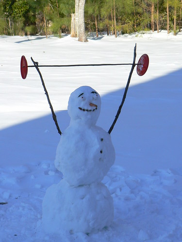 Weighlifting snowman