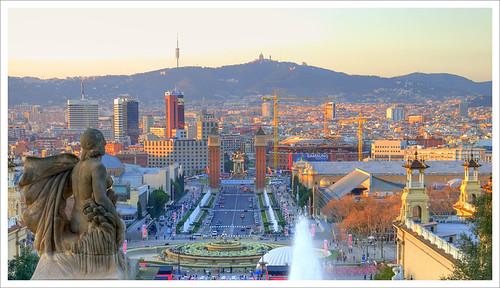 Barcelona bathed in golden light