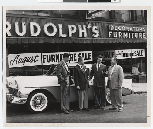 Salesmen in front of Rudolph's Furniture Store, Duluth