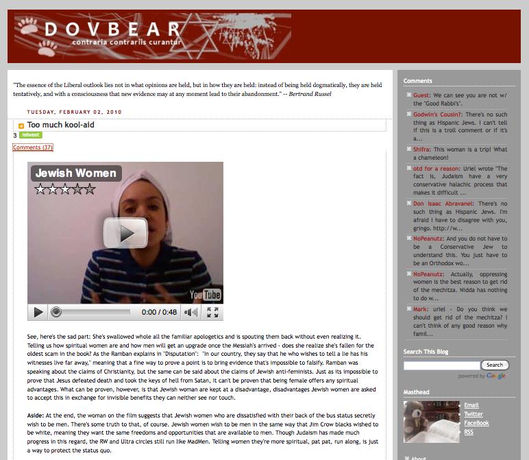 Too much kool-aid Jewish Women on DovBear