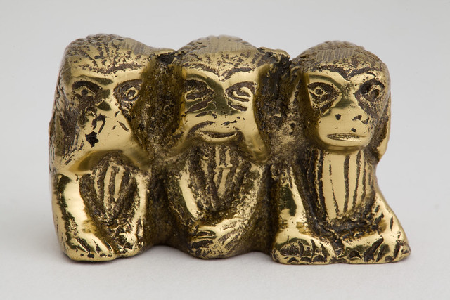 "Brass ornament of three wise monkeys, ""Speak No Evil, See No Evil, Hear No Evil"" Chaplins, CC1994_468"