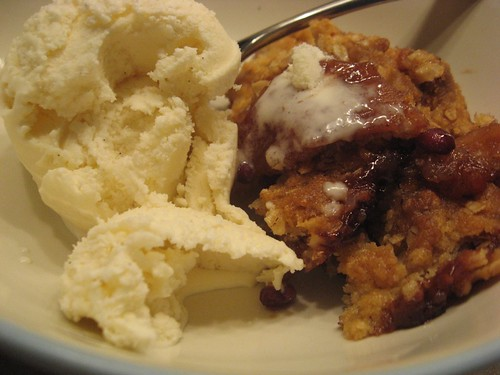 Apple Pomegranate Crisp (with ice cream!)