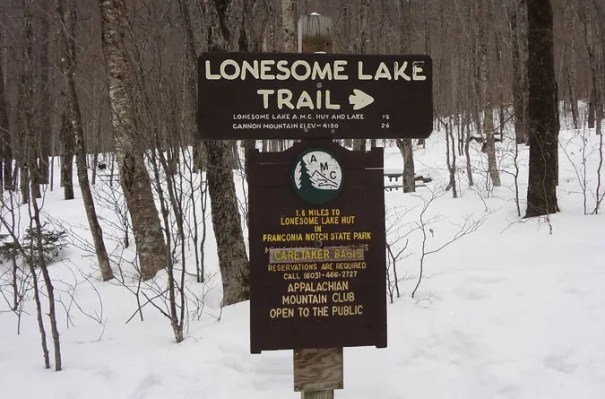 Lonesome Lake Trail Sign