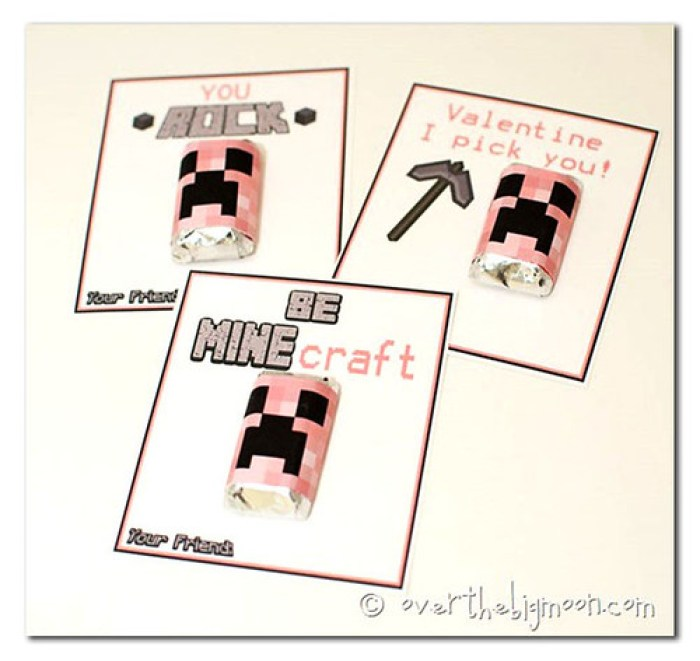 minecraft valentine cards with creeper candy