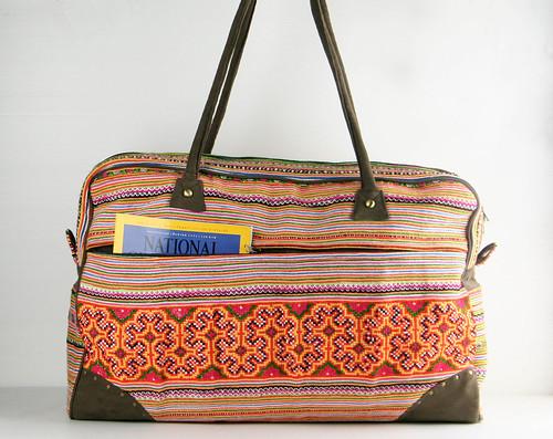 women large luggage cotton baggage boho suitcase gypsy embroidered oversize shoulderbag lightweight travelbag dufflebag weekendbag overnightbag weekenderbag carryonbag brassrivet menweekenderbag hmongembroideredfabric fauxsuedefabric