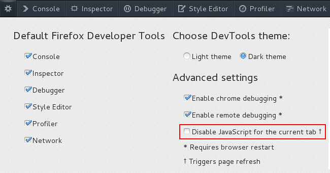 Disable JavaScript option now available in Firefox Developer Tools