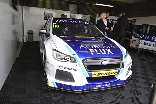 Ashley Sutton in the garage before race two at the British Touring Car Championship 2017 at Donington Park