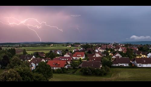 sky cloud house green germany lightning blitz wart badenwürttemberg nikond700 nikkor247028 bonnix