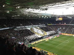 Choreographie der Gladbach-Fans beim Spiel von Borussia Mönchengladbach gegen die TSG Hoffenheim