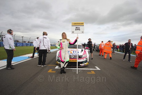 Mike Epps on the grid before race two at the British Touring Car Championship 2017 at Donington Park