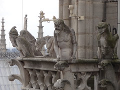 Gargoyles on Notre Dame watching the people below