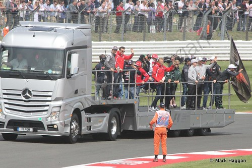 The Drivers' Parade at the 2014 British Grand Prix