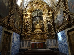 The over the top Baroque chapel on the left in the St Francis church Evora