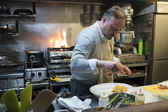 Former salaryman turned restaurant owner. Italian expat Antonio Mariani cooking in his restaurant in Fukuoka, Japan, April 6, 2017