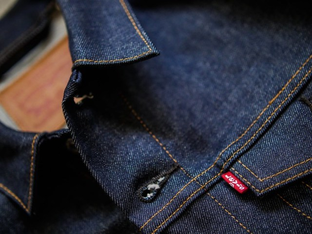 Raw denim details.