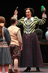 (L to R) Noa Solorio (Jane Banks), Ben Ainley-Zoll (Michael Banks) and Ruth Gottschall (Miss Andrew) in Mary Poppins, produced by Music Circus at the Wells Fargo Pavilion July 8 - 13, 2014. Photos by Charr Crail.
