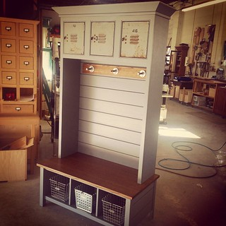 Lange Customs is ready for Rocky Hill Elementary Great Harvest!!   This item will be available in the live auction for anyone interested.   We recycled some old metal locker doors and metal gym baskets into this awesome piece. Perfect for a family with yo