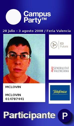 Acreditacion de McLovin para Campus Party 2008