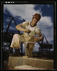 Carpenter at work on Douglas Dam, Tennessee (TVA) (LOC)