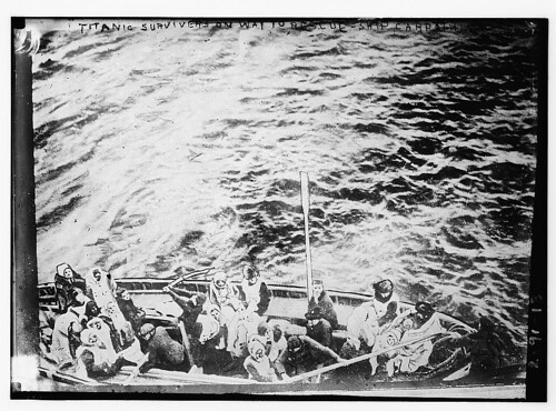 TITANIC survivors on way to rescue-ship CARPATHIA (LOC)