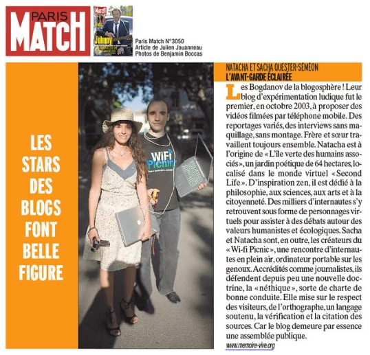 Paris Match - blogueurs : Natacha Quester-Séméon et Sacha Quester-Séméon (MemoireVive.tv)