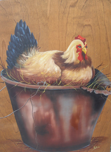 HEN IN A BUCKET