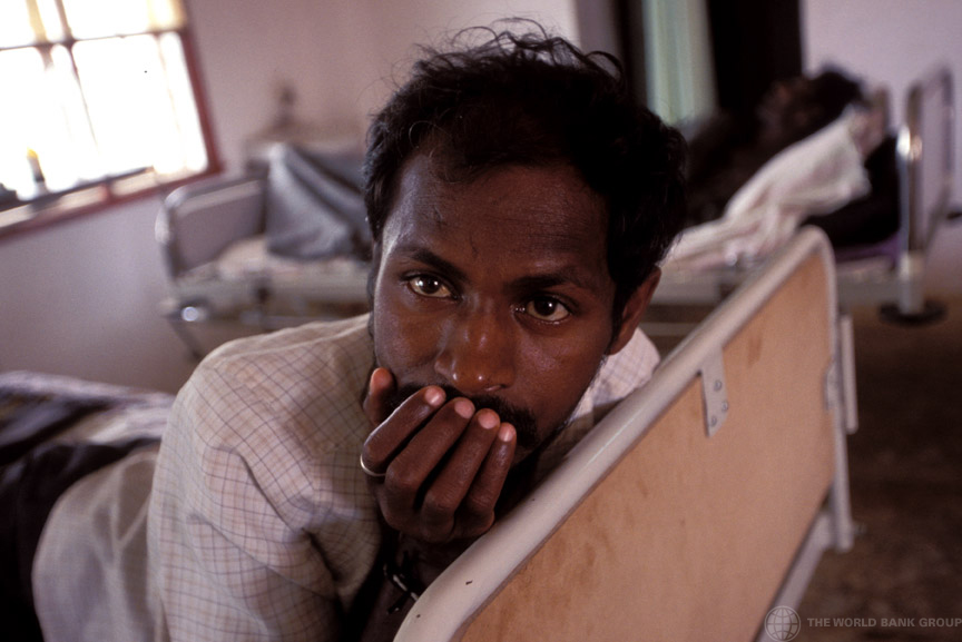 Man with AIDS in hospital. India