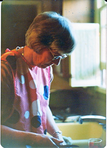 Mom chopping veg 1977