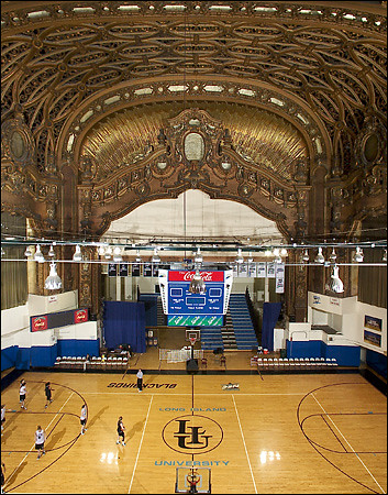 LIU basketball court inside old Brooklyn Paramount Theatre