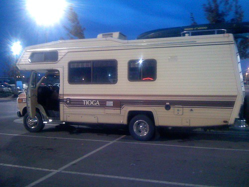 RV in the parking lot