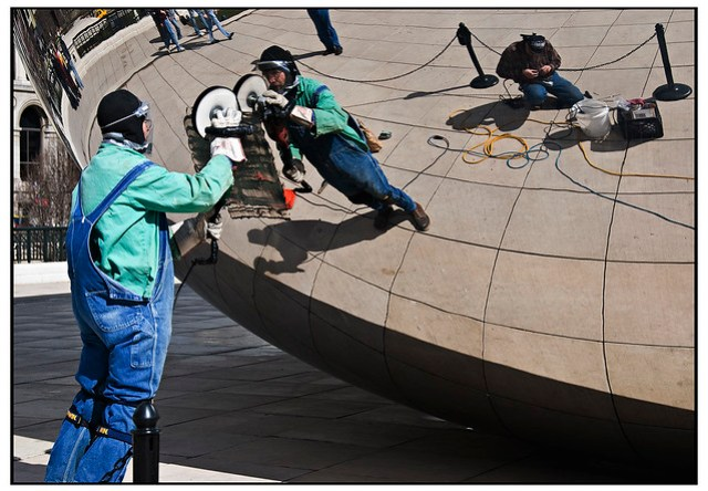 Cleaning Cloud Gate