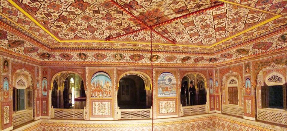 salon y galeria interior Palacio de Samode India 31