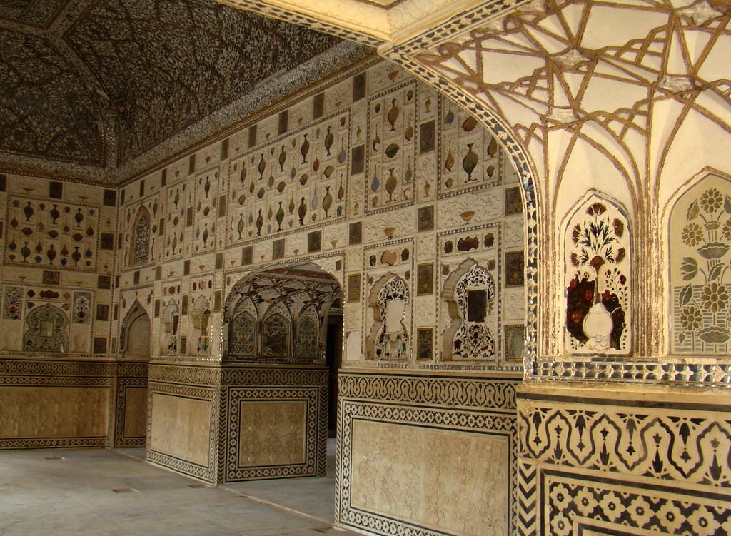 Salon de los espejos sheesh Mahal interior Diwan-I-Khas Fuerte Amber India 83