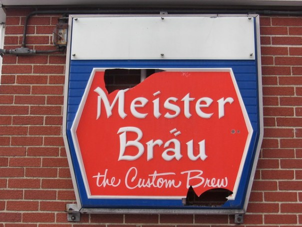 Meister Bräu sign - South Brighton, Chicago, Illinois U.S.A. - February 8, 2008