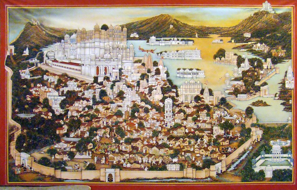India Udaipur Escuela de pintura de Miniaturas 04