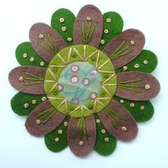 Felt and fabric (Liberty of London) flower brooch