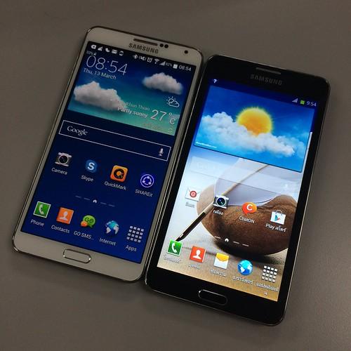 ซ้าย: Galaxy Note 3 ของแท้ ... ขวา: Galaxy Note 3 ของก็อป