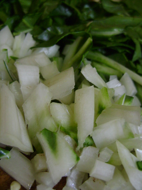 chop swiss chad and include the stalk. adds great texture to the soup