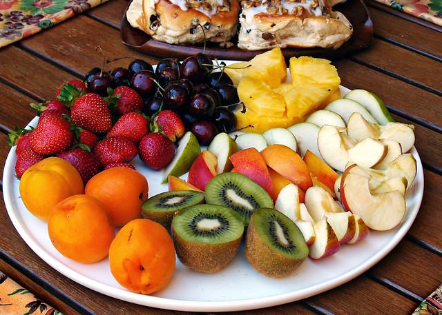 fresh fruit or sticky buns?