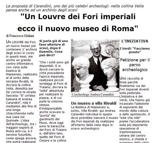 ROMA ARCHEOLOGIA & I FORI IMPERIALI: Flavia Barca, «Rivoluziono l'area archeologica Sarà il ritorno del Grand Tour» Corriere Della Sera, (09|03|2014), p. 2. |  ANDREA CARANDINI , LA REPUBBLICA (12|03|1999), p. 3. by Martin G. Conde