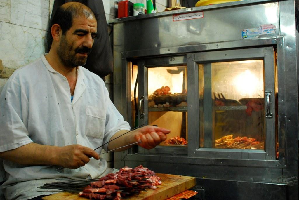 preparing lamb liver kebab...