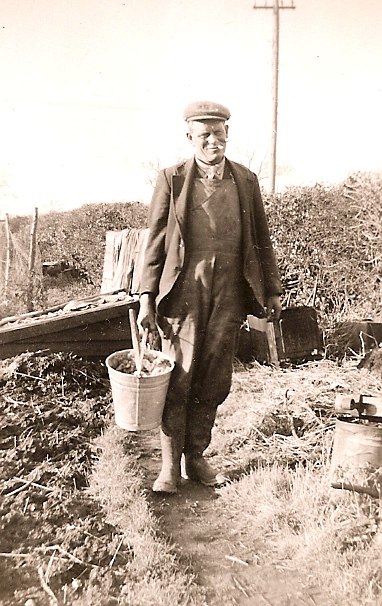 Ernest Barber in his garden
